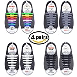 f88ebaa4a426 Talent Fashion 4 Packs of Kids Adults Tieless Elastic Silicone No Tie  Shoelaces Waterproof Rubber
