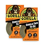 """Gorilla Tape, Mini Duct Tape To-Go, 1"""" x 10 yd Travel Size, Black, (Pack of 2)"""