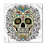 Ambesonne Unisex Bandana, Sugar Skull Calavera Featured, White Ivory