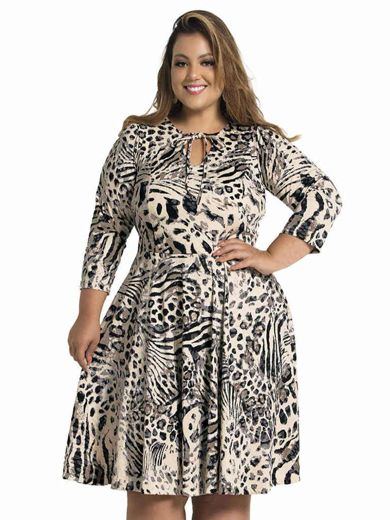 Vestido Plus Size Rodado Animal Print