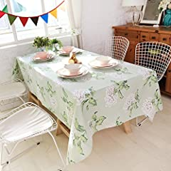 ColorBird Shabby Chic Fresh White Flower Decorative Heavy Weight Tablecloth Pale Green Cotton Linen Table Cover Home Accent (55 Inch x 86 Inch)