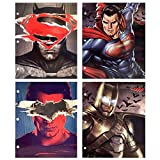 UPD DC Comics Batman Superman Justice League 3-Ring Binder Portfolio Folders with Pockets, 4 Pack, One Size, Multicolor