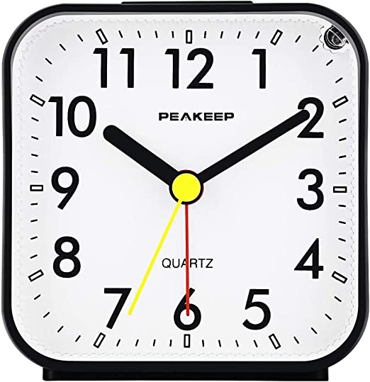 Amazon Com Peakeep Small Battery Operated Analog Travel Alarm Clock Silent No Ticking Lighted On Demand And Snooze Beep Sounds Gentle Wake Ascending Alarm Easy Set Black Home Kitchen