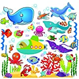 Fish Wall Stickers for Kids, Under The Sea Wall Decals for Toddlers' Bathroom, Bedroom, Window, Bathtub, Baby's Nursery, and Children's Classroom, Removable Peel and Stick Ocean Decor That Clings