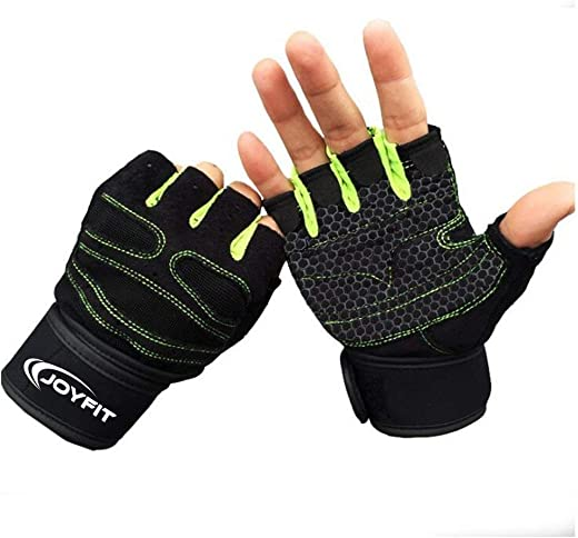 """JoyFit Weight Lifting Gloves with 12"""" Wrist Wrap Support for Workout, Gym, Sports (Green, Black)"""