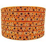 """3/8"""" 50 Yards Halloween Spiders Web Pattern Printed Orange Grosgrains Ribbons"""