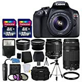 Canon EOS Rebel T6 Digital SLR Camera + Canon 18-55mm EF-S f/3.5-5.6 IS II Lens & EF 75-300mm f/4-5.6 III Lens + Wide Angle Lens + 58mm 2x Lens + Slave Flash + 64GB Memory Card + Wired Remote + Bundle