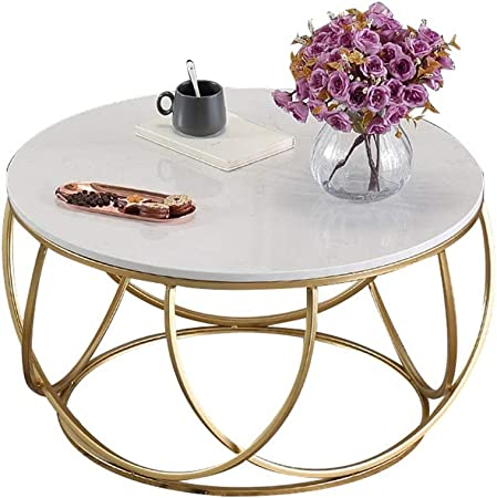 Amazon Com Jhbw White Marble Coffee Table Golden Wrought Iron Frame Modern Living Room Round Coffee Table Home Decoration Creative Table L 60cm 23 6in Kitchen Dining