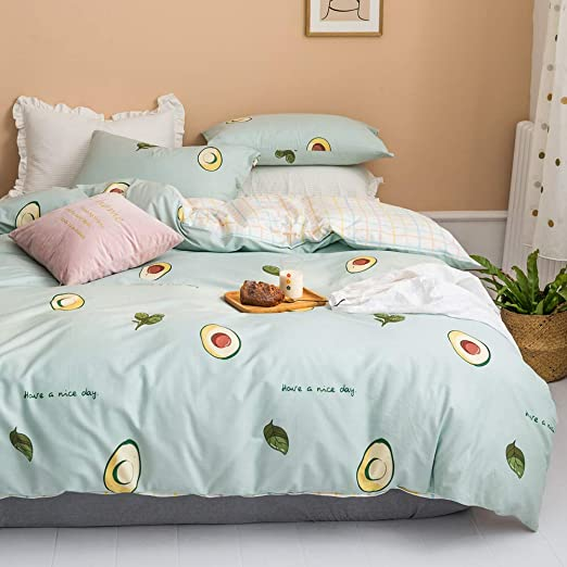 Amazon Com Blueblue Avocado Kids Duvet Cover Set Twin 100 Cotton Bedding For Boys Girls Teens Single Bed Cartoon Avocado Tropical Fruit Pattern Print On Light Green 1 Comforter Cover 2 Pillowcase Twin