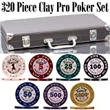 320 Piece Pro Poker Clay Poker Set - 2X Plastic Cards with Cutting Cards - Reinforced Leather case - Free Poker Felt