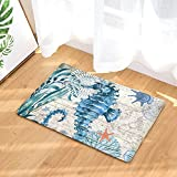 Hippocampus Watercolor Sea World Animal Doormats Entrance Mat Floor Rug Indoor/Front Door/Bathroom Mats Rubber Non Slip 20 x 31.5 inch