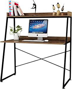 Amazon Com Designa Computer Desk With Bookshelf Study Writing Pc Laptop Table Workstation 48 Inches Space Saving Office Home Desk Multi Functional Modern Industrial Style Archaize Brown Kitchen Dining