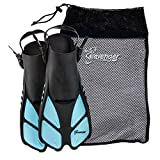 Seavenger Torpedo Swim Fins | Travel Size | Snorkeling Flippers with Mesh Bag for Women, Men and Kids (Dodger Blue, S/M)