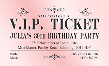 Magnetic party invitations invitationjdi 40 magnetic birthday party invitations personalised pink vip ticket filmwisefo