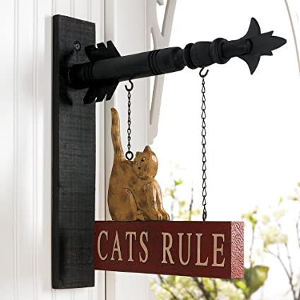 Cats Rule Hanging Sign Decorative Plaque For Arrow Hanger