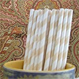 CleverDelights Cream Stripe Paper Straws - 100 Straws - Biodegradable Eco-Friendly Drinking Straws