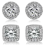 Quinlivan Duo 2 Pairs Premium Halo Stud Earrings 10mm, Round Princess Cut Cubic Zirconia Earrings Sets Lightweight for Women, Girls (rhodium)