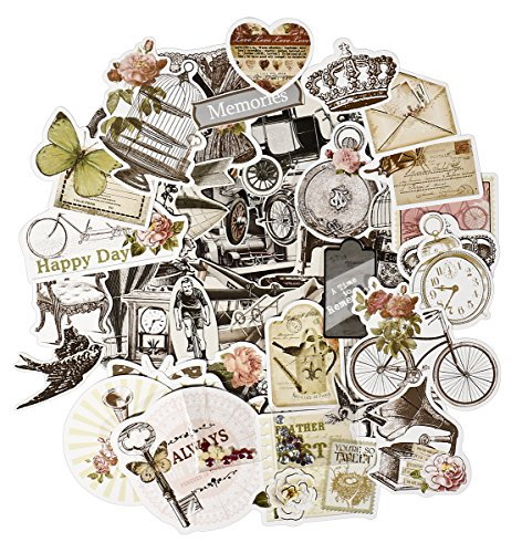 FaCraft Scrapbook Ephemera Vintage Scrapbooking Supplies Embellishments Die-Cut Pack,Old-Time and Happy Day,50 Pieces Assorted Designs