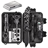WORSPODAY Emergency Survival Kit - Paracord Bracelet, Emergency Blanket, Fire Starter, Flashlight, Whistle etc - Camping, Hiking, Hunting Survival Gear