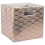 """DII Hard Sided Collapsible Fabric Storage Container for Nursery, Offices, & Home Organization, (13x13x13"""") - Waves Copper"""