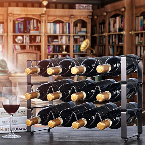 Stackable Iron Metal Wine Rack for Countertop or Cabinet, Bronze