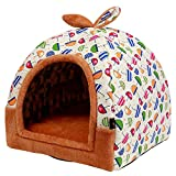 Hanshu 2 in 1 Pet House and Sofa Indoor Soft Warm Washable Igloo Pyramid Cat Dog Beds,(Colorful Umbrella, S)