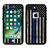 Protective Designer Vinyl Skin Decals/Stickers for Lifeproof Fre iPhone 7 Plus/iPhone 8 Plus Case -Thin Blue Line USA Police Flag Design Patterns - Only Skins and NOT Case - by [TeleSkins]