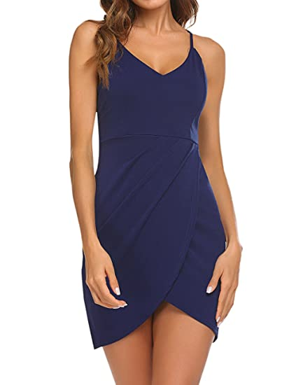 9c73f4580ce Luckymore Womens Sexy Vintage Summer Deep V Neck Spaghetti Strap Ruched  Bodycon Clubwear Short Dress Navy