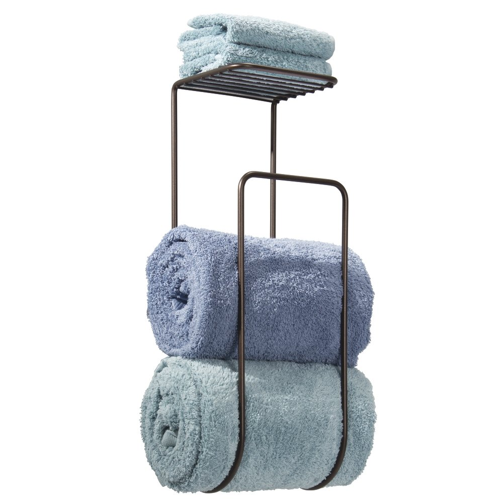 Amazon.com : mDesign Wall Mount Towel Holder We have limited linen closet storage – so we use this holder for storing fresh towels in our boat's bathroom.