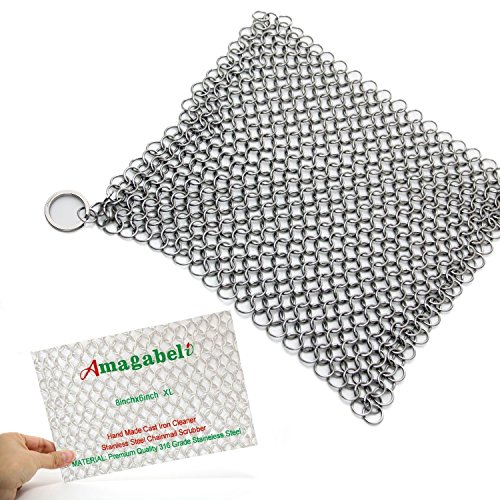 Amagabeli 8'x6' Stainless Steel Cast Iron Cleaner 316L Chainmail Scrubber for Cast Iron Pan Pre-Seasoned Pan Dutch Ovens Waffle Iron Pans Scraper Cast Iron Grill Scraper Skillet Scraper