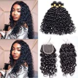 Maxine Malaysian Water Wave Hair 3 Bundles with 4x4 Free Part Closure Unprocessed Virgin Hair Weave with Closure Lace Top Closure(16 16 18 with 14)