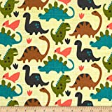 Michael Miller Dino Flannel Old Friends Kryptonite Fabric By The Yard