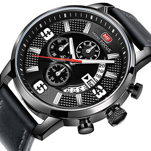 MINI FOCUS Men Business Watches Black Leather Strap Fashion Quartz Analog Wrist Watch for Friend Gift