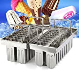 TeeNoke 20pcs Stainless Steel Molds Ice Lolly Popsicle Ice Cream Stick Holder (B)