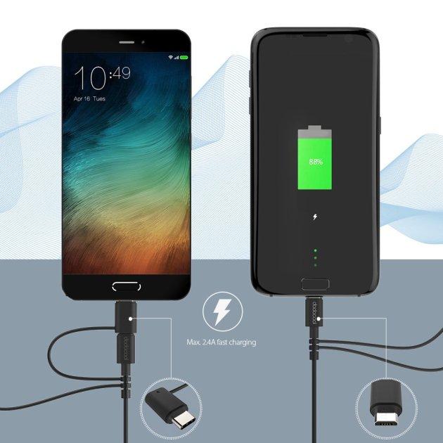 dodocool MFi認定 3in1 変換ケーブル Lightning USB+Type-C+Mirco USB充電ケーブル 3.3フィート/1メートル