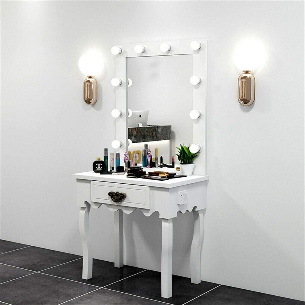 Hollywood Classic Led Vanity Mirror Table With Dimmer Makeup Dressing Table With Drawer 10 Makeup Ready Bulbs Around Amazon Co Uk Kitchen Home