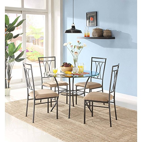 MSS 5-Piece Glass and Metal Dining Set, Includes table and 4 chairs, Solid metal tubing, Easy assembly, Upholstered seat cushions, Comfortably seats four people with 42 inch round table surface.