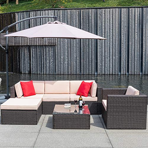 Flamaker 6 Pieces Patio Furniture Set Wicker Sectional Furniture Outdoor Sectional Sofa All-Weather Cushioned Rattan Sofa Set with Cushions and Coffee Table