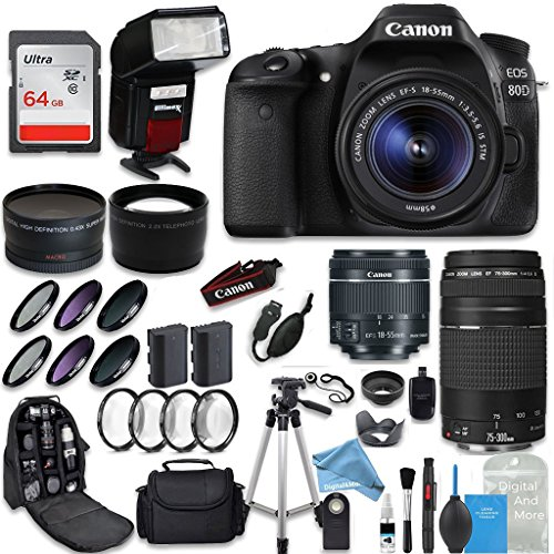 Canon EOS 80D DSLR Camera + Canon EF-S 18-55mm + Canon EF 75-300mm Lens + 0.43 Wide Angle & 2.2 Telephoto Lens + Macro Filter Kit + 64GB Memory Card + DigitalAndMore PRO Accessory Bundle