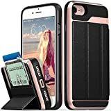Vena iPhone 8 Wallet Case, iPhone 7 Wallet Case, [vCommute][Military Grade Drop Protection] Flip Leather Cover Card Slot Holder with Kickstand for Apple iPhone 8 / iPhone 7 (Rose Gold/Black)