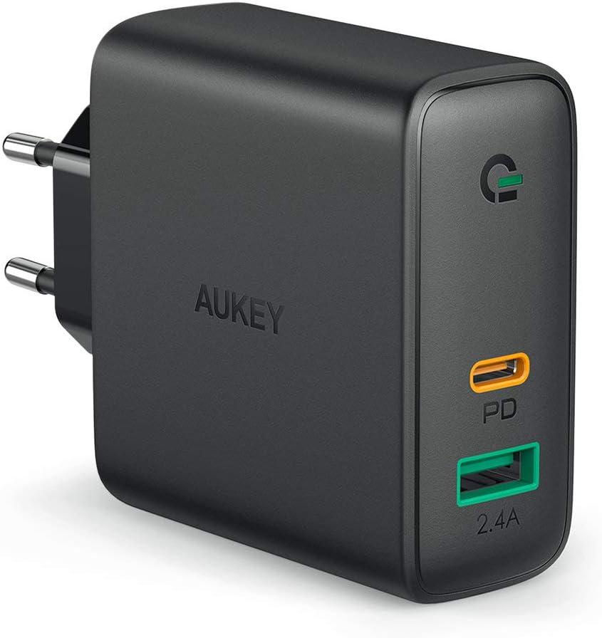 AUKEY USB C Chargeur Secteur USB avec 60W USB Power Delivery & Dynamic Detect, Chargeur Mural avec GaN Tech pour MacBook/Pro, iPhone XS/XS Max/XR, Google Pixel, Nintendo Switch etc.