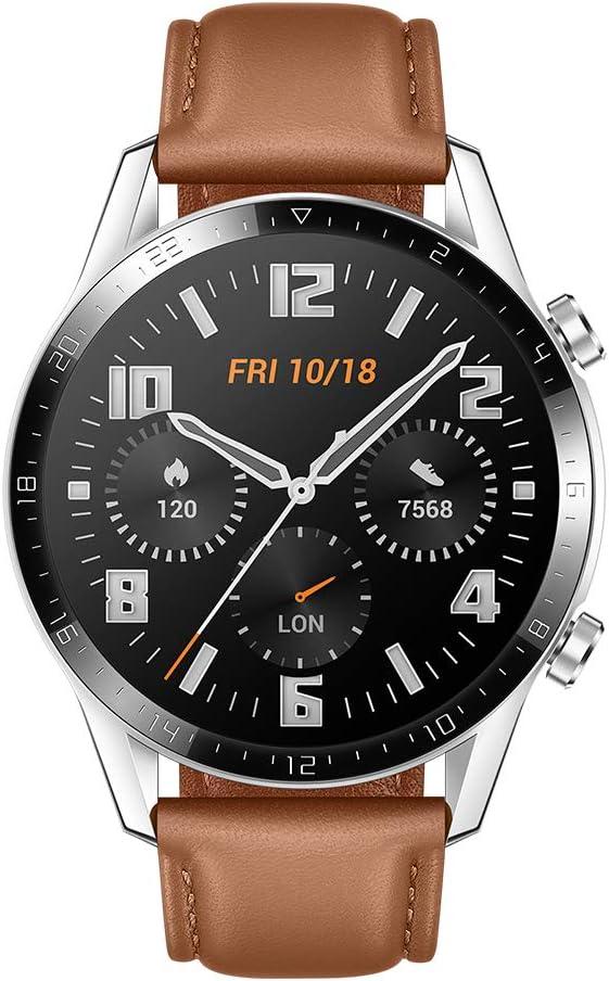 Huawei Watch GT 2 Montre Connectée (GPS, Boîtier 46 mm), Écran AMOLED 1,39 pouces avec Écran en Verre 3D, Autonomie de 2 Semaines, GPS, 15 Modes Sportifs, Smartwatch de Bluetooth, Marron Pebble