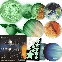 Glow in The Dark Stars and Planets, Bright Solar System Wall Stickers -9 Glowing Ceiling Decals for Kids Bedroom Any Room,Shining Space Decoration, Birthday Christmas Gift for Boys and Girls