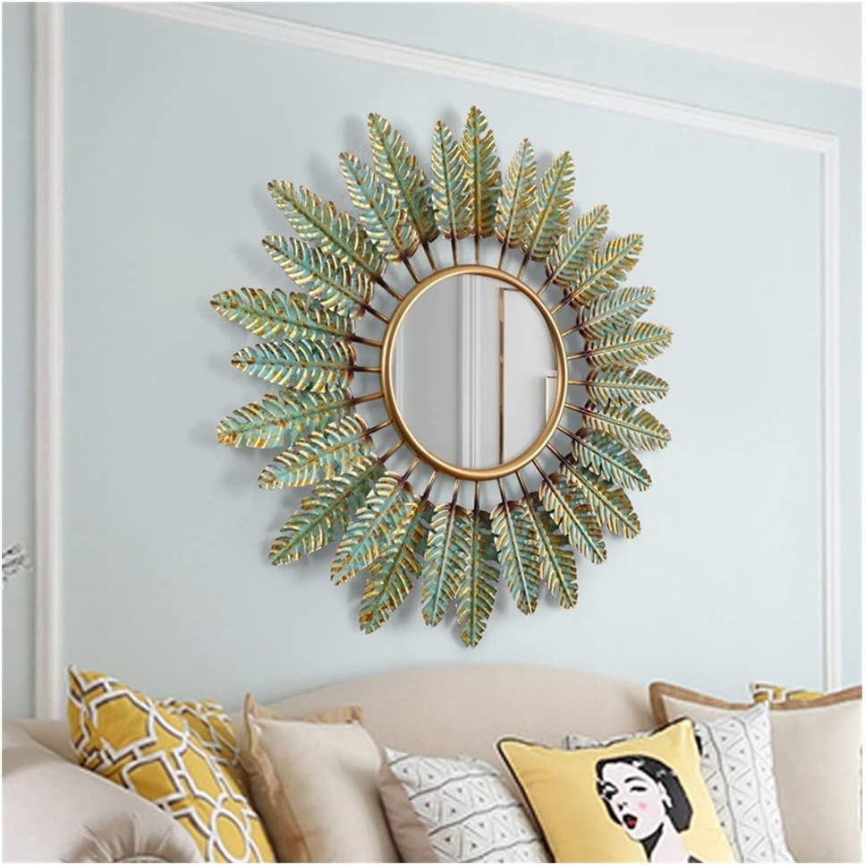 Amazon Com Round Wall Mirror Wall Mirrors For Living Room Green Leaves Large Circle Mirror Fancyornate Mirror Silver Decorative Wall Mountable Shabby Chic Home Decor Wall Mirrors For Hallway Home Kitchen
