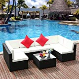 M&W 7 Pieces Patio Sofa Set, PE Wicker Rattan Outdoor Sectional Funiture, 6 Cushioned Chairs and 1 Glass Coffee Table for Lawn Garden Backyard Pool