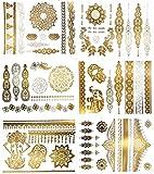 Terra Tattoos Metallic Henna Tattoos - Over 75 Mandala, Mehndi, Boho Designs in Gold and Silver (6 Sheets), Jasmine Collection