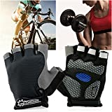 GEARONIC TM Cycling Workout Gloves Half Finger Mountain Bicycle Men Women Gel Pad Anti-Slip Breathable Outdoor Sports Shock-Absorbing Riding Biking Cycle Glove - GrayXL