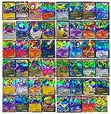 BigZ 100 PCS Poke TCG Style Card Holo EX Full Art : 20 GX + 20 Mega + 1 Energy + 59 EX Arts