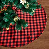 Eiley 48 Inches Christmas Tree Skirt Red and Black Plaid Buffalo Check Double Layers Skirts for Christmas Decorations Indoor Outdoor, Xmas Party Holiday Ornaments
