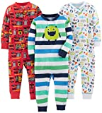 Simple Joys by Carter's Baby Boys' 3-Pack Snug Fit Footless Cotton Pajamas, Monster/Construction/White, 24 Months